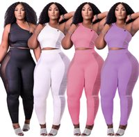 Wholesale Women Clothes Tracksuits 2021 New Fashion Two Piece Set Sleeveless See Through Bodycon Sport Suit One Shoulder K7263