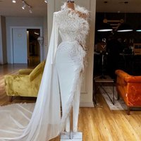 Feather Evening Dresses One Shoulder Side Split Beads Prom Dress Formal Party Pageant Gowns Custom Made Glitter Floor Length Robe de mariée