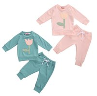 Clothing Sets Spring Autumn Infant Born Baby Girl Boy Flower Print Long Sleeve Sweatshirt Top Pants Tracksuit Casual Clothes Set