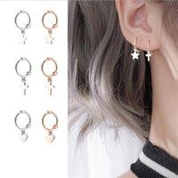 Hoop & Huggie Trendy Rose Gold Cross Drop Earrings For Women Jewelry Silver Plated Earring Female Party Accessories Lady Ear Bijou