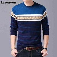 Liseaven Homens Sweater O-pescoço Casual Suéter listrado Outono Inverno Marca Mens Pullovers