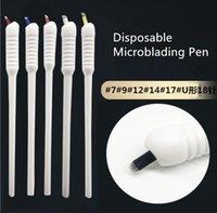 Tattoo Guns Kits 10Pcs Disposable Microblading Pen With 18PINS U Shape Eyebrow Blade Shading Handtool