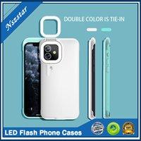 셀프 램프 전화 케이스 아름다움 LED 아이폰 12 미니 프로 최대 휴대 전화 뒷 표지 케이스