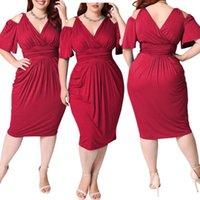 Casual-Kleider 2021 Sommer Sexy Kleid für Fett Weibchen Plus Size Vintage 4XL 5XL Frauen Blau Tief V Hals Aushöhlen enge dünne Midi