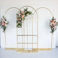 Party Decoration Shiny Gold Wedding Flower Arch Floral Row Door Frame Backdrop Birthday Balloons Rack Lace Curtain Background Props Layout