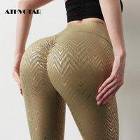 Damengamaschen Athvotar Gold Gedruckt Leggins Push Up Hohe Taille Sporthosen Übung Gymnone Kleidung Casual Schnell trockene Frauen
