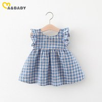 Girl's Dresses Ma&Baby 6M-3Y Summer Born Infant Baby Girl Dress Ruffles Sleeve Blue Plaid For Toddler Clothing DD43