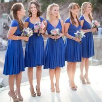 Royal Blue Bridesmaid Dresses 2022 Short Ruched Knee Length Straps Custom Made Plus Size Maid of Honor Gown Country Beach Wedding Party Wear vestidos