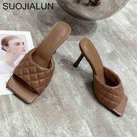Suojialun бренд дизайн женские тапочки элегантные квадратные пальцы тонкие высокие каблуки 9см тапочки летний на открытом воздухе слегки сальники 210325