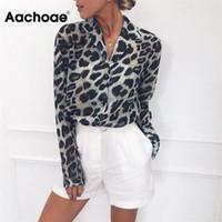 AACHOAE Vintage Bround Blouse с длинным рукавом Leopard Print Blouse отключить воротник Офисная рубашка Туника повседневная свободные вершины плюс размер Bluss 210402
