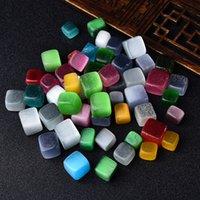 Polierter natürlicher Regenbogen-Cymophan-Cube Cat's Eye Tumbled-Stein-Kies-Quadrat-Kristallsteine handpoliert für den Tank