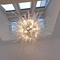 Bela transparente branco pingente lâmpada villa mão soprado vidro led led chandelier iluminação escadaria sala de estar cozinha arte decoração luzes