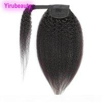 Brazilian Peruvian 100% Human Hair Hook & Loop Kinky Straight 8-24inch Ponytails Virgin Hair Kinky Straight Pony tail Hair Extensions