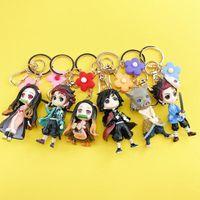 Keychains 6pcs Demon Blade Keychain Anime Kimetsu No Yaiba Figure Tanjirou Nezuko Action Slayer Figurineanime Toy