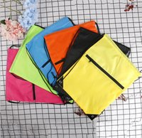20pcs Drawstring Backpack 210polyester fabric waterproof folding Marketing Promotion Storage Bag With Zipper