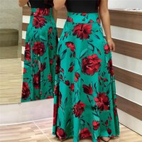 Colors Flower Printed Draped Short Sleeves Long Dress Women Casual Summer Crew Neck Daily Party Beach Robe Vestidos Dresses