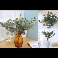 Decorative Flowers & Wreaths Artificial Eucalyptus Leave Branch Green Silk Leaf For Home Decor Wedding Plants Faux Fabric Foliage Room