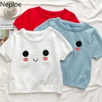 Neploe Embroidery Cute Cartoon T Shirts For Women O Neck White Soft Furry Shirt Knitted Slim Fit Crop Top Sexy Korean Sweet Tees Women's T-S