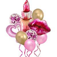 1 takım Hello 30 Balonlar Ruj Öpücük Balon 30th Doğum Günü Sevgililer Günü Düğün Dekorasyon Şişme Hava Globos Partisi