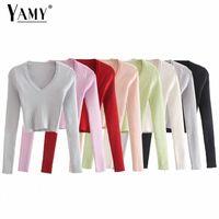 Automne 2020 Pull de culture Kawaii Pulls mignons Tricoté Femme Sweaters à manches longues Top Vêtements d'hiver Femmes Pullover Vintage D9Qx #