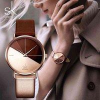 SK Luxus Leder Uhren Frauen Kreative Mode Quarzuhr für Reloj Mujer Damen Armbanduhr Shengke Relogio Feminino 210325