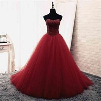 Bling Sequins Beaded Strapless Crystals Bodice Prom Dress Ball Gowns Reals Puffy Evening Gowns vestido de festa curto Party Dress