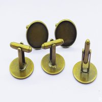 100PCS Antique Bronze Plat Copper French Blanks Sets Cufflinks backs for Cabochons