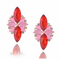 Japanese and Korean stud fashion personality exaggerated multicolor five-leaf petals inlaid rhinestone super flash earrings