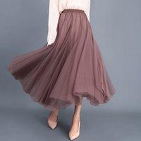 Tulle Skirt Women Mesh Elastic Tutu Apparel 2021 Spring Summer Korean High Waist Fashion Pleated Long Skirts Black Khaki