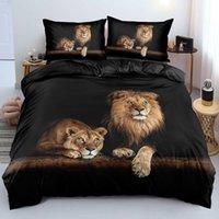 3D Black Bedding Set Custom Design Lion Quilt Cover Sets Animal Comforter Cases Pillow Cases King Queen Super King Twin Size H0913