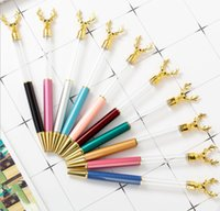 NEW DIY Empty Tube Deer Head Metal Ballpoint Pens Self-filling Floating Glitter Dried Flower Crystal Pen Christmas Student Writing Gift