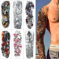 Braço completo tatuagem temporária adesivo colorido adesivo manga falsa flash flash flor tigre dragão dragão impermeável tatuagem