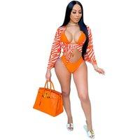 PCS 수영복 커버 여성 레이스 브래지어 팬티 및 랩 수영복 여름 패션 프린트 섹시한 Beachwear 비키니 세트 여성들