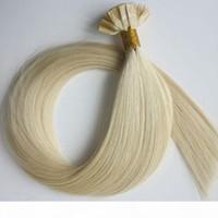 Ön Yapıştırılmış Brezilyalı İnsan Saç Düz Uç Saç Uzantıları 50g 50 Strands 18 20 22 24 inç # 60 Platin Sarışın Hint Saç Ürünler