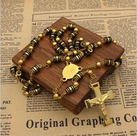 Hot Sell Mens Rosary Pendant Necklace Charms Black With White Steel Bead Chain Beckham For Men Women Fashion Jewelry