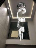 Lamba avize ışık yüksek tavan giriş yolu merdivenler için asılı spiral uzun lambalar kristal merdiven lambaları avizeler