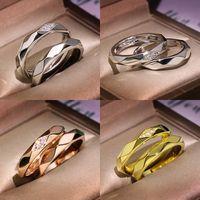 Anillos de boda de plata rosa oro redondo pareja simple anillo con piedra de circón para mujeres compromiso joyería de moda regalo de San Valentín 925