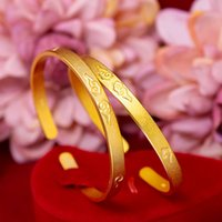 Clouds Carved Luxury Simple Women Cuff Bangle 18k Yellow Gold Filled Fashion Female Jewelry Bracelet