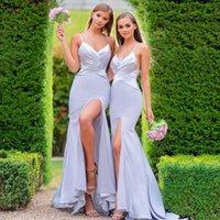 Fashion Country Style Mermaid Bridesmaid Dresses Spaghetti Straps High Side Split V Neck Maid Of Honor Gowns Sweep Train Elastin Satin Wedding Guest Dress