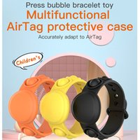 Push Pops Bubble Bracelet For AirTags Protective Case Fidget Toys Party Favor Silicone Anti-Lost Positioner Cover Tracking Locator Bracelets Wristband