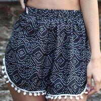 6898 print small ball ee elastic waist sexy beach casual shorts