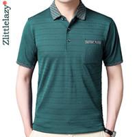 2021 Summer Short Sleeve Polo Tee Shirt Men Casual Pocket Striped Men's Clothing Polos Shirts Mens Fashion Slim Fit Poloshirt 52 P0813