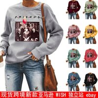 Women's T-Shirt Letters Halloween FRIENDS Printed Jacket Round Neck Pullover Sweater Graphic Tee Women Sexy Tops Green For