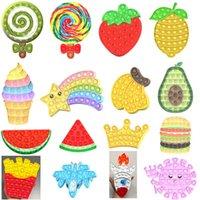 Fruits Lollipop Burger Shapes Fidget Push Pop Bubble Popper Sensory Finger It Puzzle Board Tiktok Stress Relief Poppers Family Kids Toys
