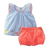 Little Maven Girls Schmetterling Applique Sommer Set für Mädchen Kinder Kind Outfits Anzüge Baby Mädchen Kleidung Set Boutique Anzug 210326