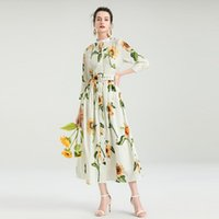Повседневные платья Didacharm летние женские цветы печати мода партии старинные элегантные шикарные девушки однобортные ремни украшения длинное платье