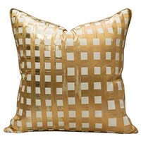 Cushion Decorative Pillow Light Luxury Jacquard Cover Champagne Striped Decorative Throw Pillowcase Modern Designer El Sofa Chair Cushion Ca