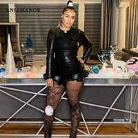 Women's Tracksuits ANJAMANOR Sexy Black PU Leather Two Piece Set Crop Top With Ruffle Shorts Sets For Women 2021 Fall Fashion Club Outfits D