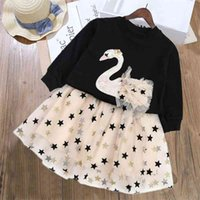 LZH Children Clothing Swan T-shirt+Star Mesh Skirt 2pcs Suit Outfit Autumn Toddler Girls Clothes Kids Tracksuit For Sets 210727