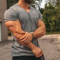 Hombres V Cuello de manga corta T Shirt Fitness Slim Fit Sports Strips T-shirt Hombre Solid Fashion Tees Tops Verano Punto Gimnasio Ropa T-shir